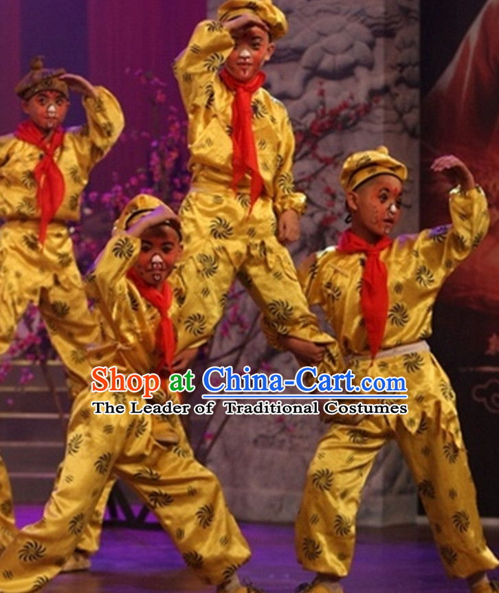 Chinese Lunar Monkey Year Sun Wukong Monkey King Stage Performance Costumes Complete Set for Kids or Adults