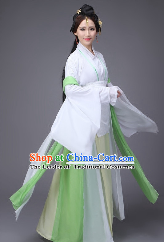 Han Dynasty Chinese Classical Dance Costumes and Headwear Complete Set for Women