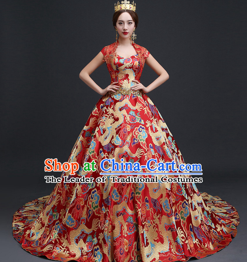 Top Chinese Red Wedding Dress and Headwear Complete Set