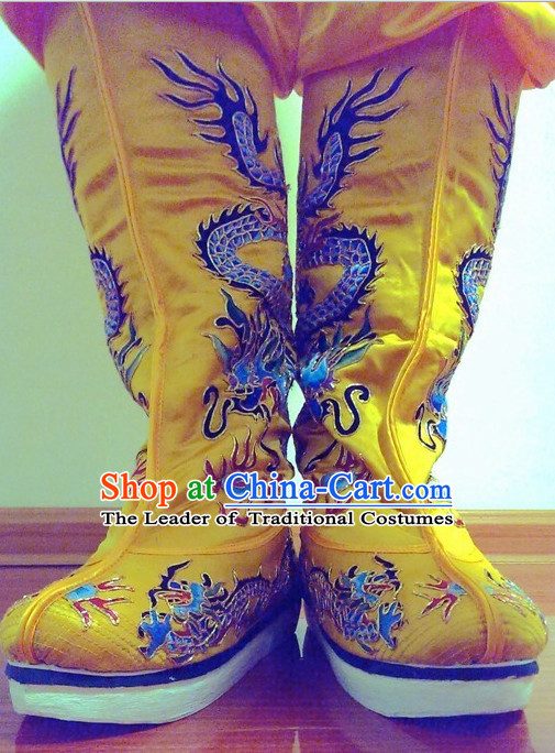 Ancient Chinese Embroidered Dragon Emperor Boots Shoes