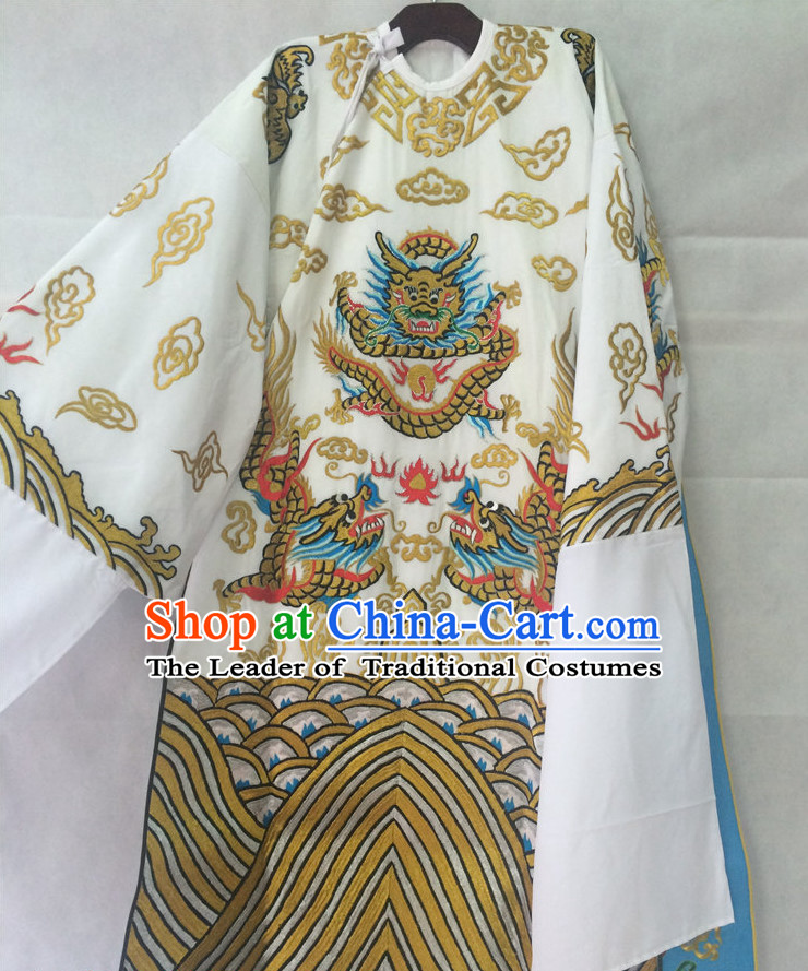 Ancient Chinese Scholar Embroidered Dragon Opera Robe Complete Set for Men