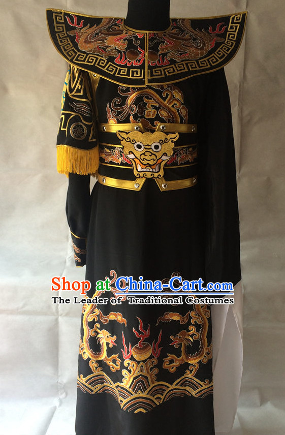 Ancient Chinese Opera Embroidered Dragon General Costumes Complete Set for Men