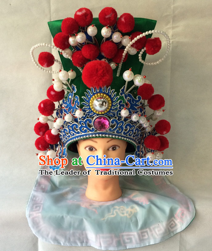 Traditional Chinese Classical Opera Guan Gong Helmet Hat for Men