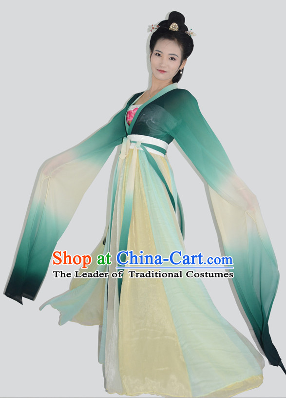 Ancient Chinese Long Sleeves Hanfu Garment and Hair Accessories Complete Set for Women