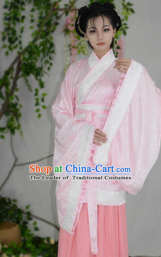 Ancient Chinese Han Dynasty Hanfu Garment Clothing and Hair Accessories Complete Set for Women