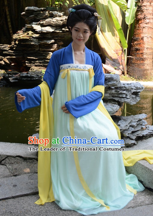 Ancient Chinese Tang Dynasty Hanfu Clothes and Hair Accessories Complete Set for Women