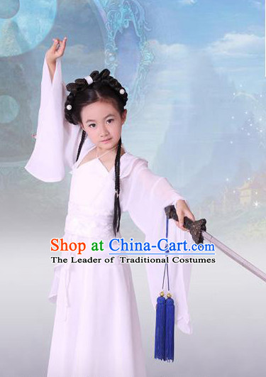 Pure White Chinese Classical Dragon Lady Costumes for Kids Children
