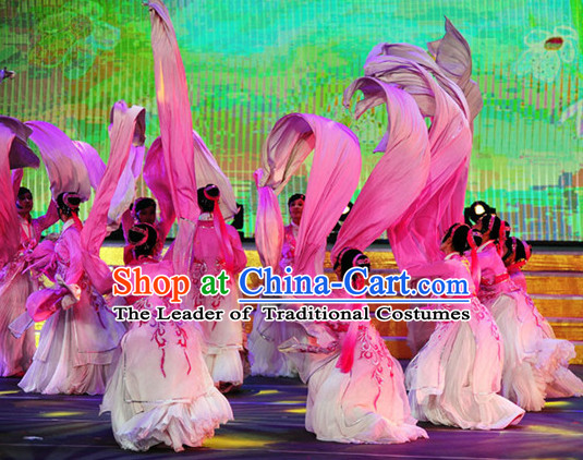 Chinese Water Sleeve Shuixiu Dance Costumes and Headpieces Complete Set for Women