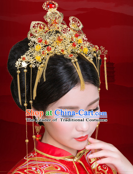 Traditional Chinese Princess Brides Wedding Headpieces Hair Fascinators Jewelry Decorations Hairpins Phoenix Crown