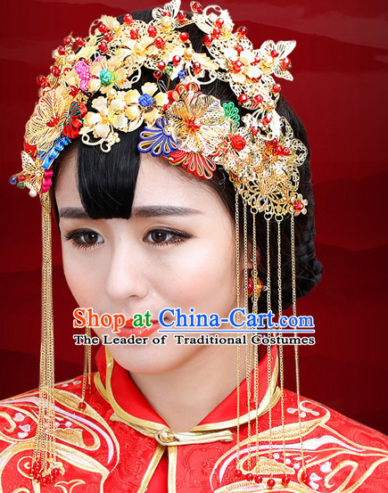 Traditional Chinese Style Princess Empress Queen Brides Wedding Headpieces Hair Fascinators Jewelry Decorations Hairpins Phoenix Crown