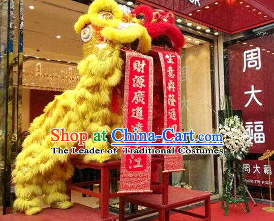 Red NEW 100% Natural Wool  Chinese Folk Art Lion Dance Costumes Complete Set