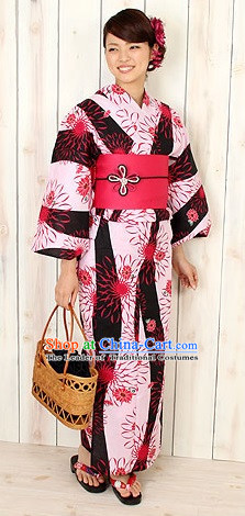 Traditional Japanese White Kimono Fashion Furisode Yukata Clothing Stain Robe Dress online Complete Set for Women