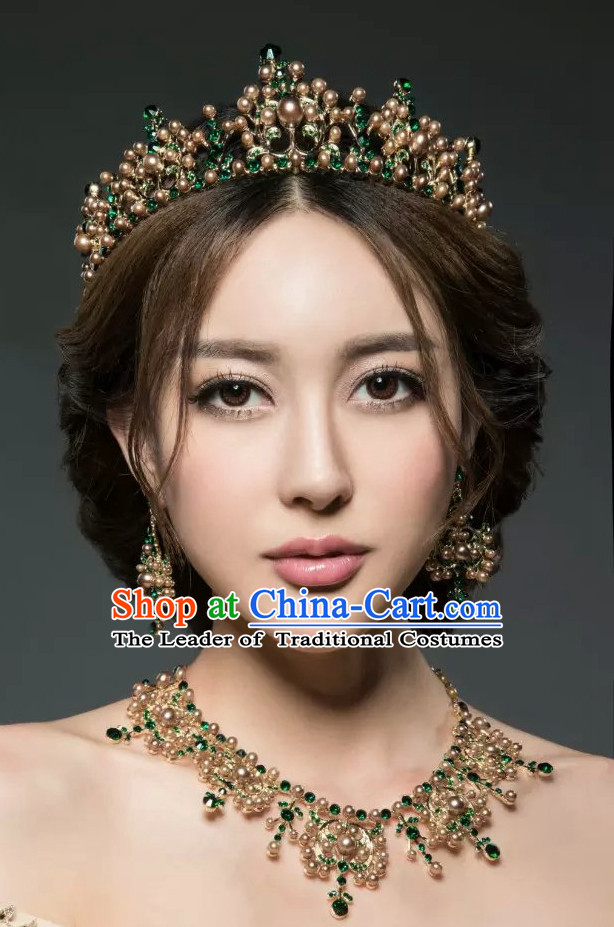 Romantic Bridal Princess Crown Hair Accessories Hair Jewelry and Necklace Set