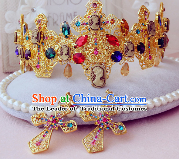 Romantic Bridal Princess Royal Wedding Crown Hair Accessories Hair Jewelry Headwear and Earrings