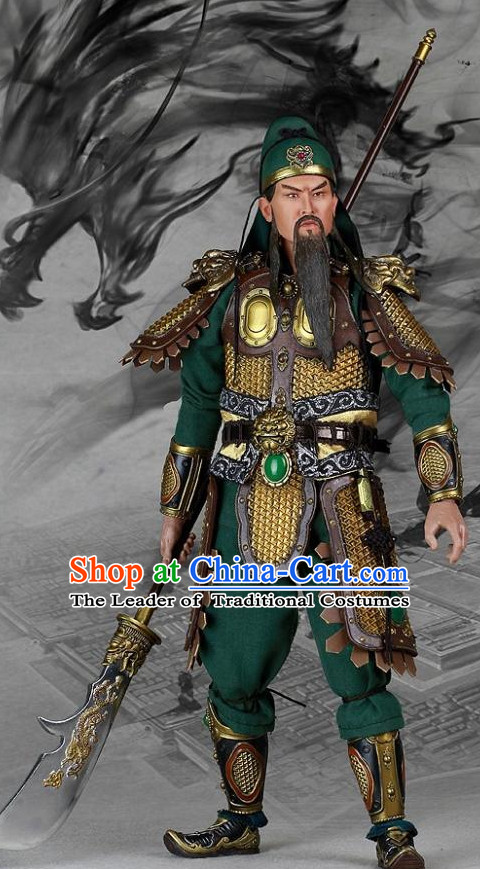 Chinese Ancient General Guan Gong Gwan Gong Body Armor Costumes and Helmet Complete Set for Men