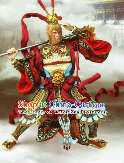 Ancient Chinese Monkey King Body Armor Costumes Garment Clothing and Coronet Headpieces Complete Set
