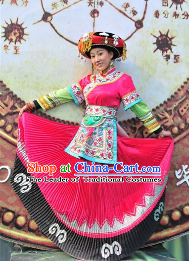 Chinese Folk Ethnic Traditional Clothes Garment and Hat Complete Set for Women