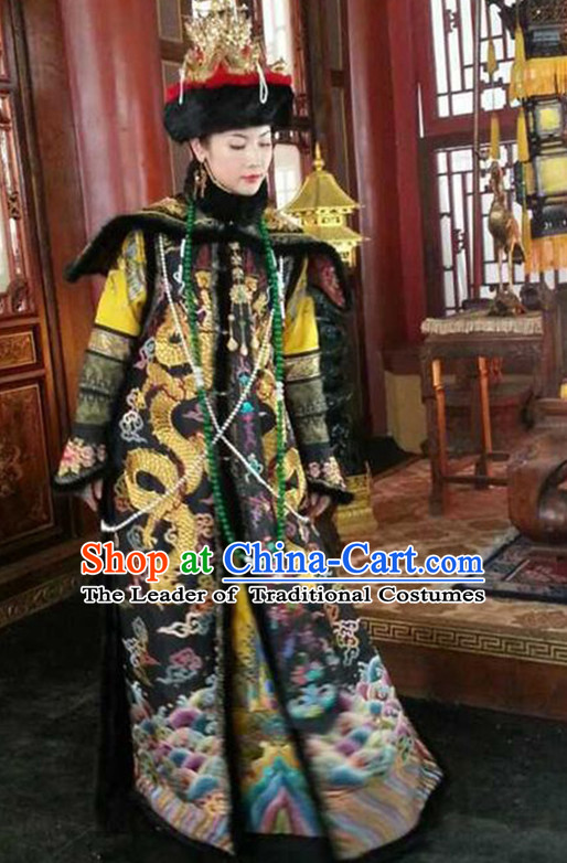 Qing Dynasty Imperial Empress Stage Costumes and Hat Complete Set