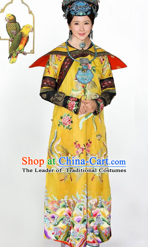 Empress Qing Dynasty Embroidered Robe Dresses Imperial Robe Clothes Set