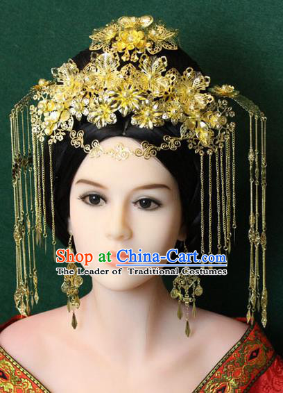 Chinese Ancient Style Hair Jewelry Accessories, Hairpins, Queen Hanfu Tang Dynasty Xiuhe Suit Wedding Bride Phoenix Coronet, Hair Accessories Set for Women