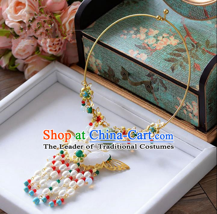 Chinese Ancient Style Jewelry Accessories, Traditional Necklaces, Princess Hanfu Xiuhe Suit Wedding Bride Necklace, Pearl Necklace Women