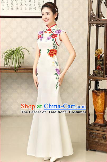 Ancient Chinese Wedding Costumes Complete Set, Unique Design Fish Tail Wedding Cheongsam for Brides, Qipao for Women