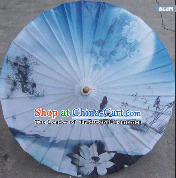 Chinese Classic Handmade Oiled Paper Umbrella Parasol Sunshade Moon Chrysanthemum