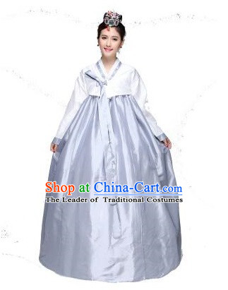 Korean Traditional Costumes Bride Dress Wedding Clothes Korean Full Dress Formal Attire Ceremonial Dress Court Stage Dancing Silver White