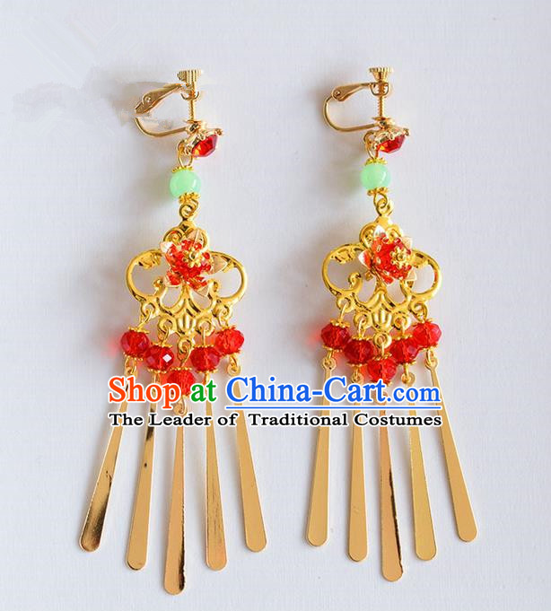 Chinese Ancient Style Jewelry Accessories, Earring, Hanfu Xiuhe Suits Wedding Bride Earrings for Women