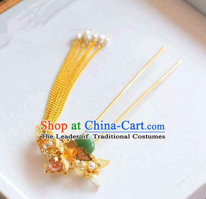 Chinese Ancient Style Hair Jewelry Accessories, Hairpins, Hanfu Xiuhe Suits Wedding Bride Headwear, Headdress, Imperial Empress Handmade Hair Fascinator for Women
