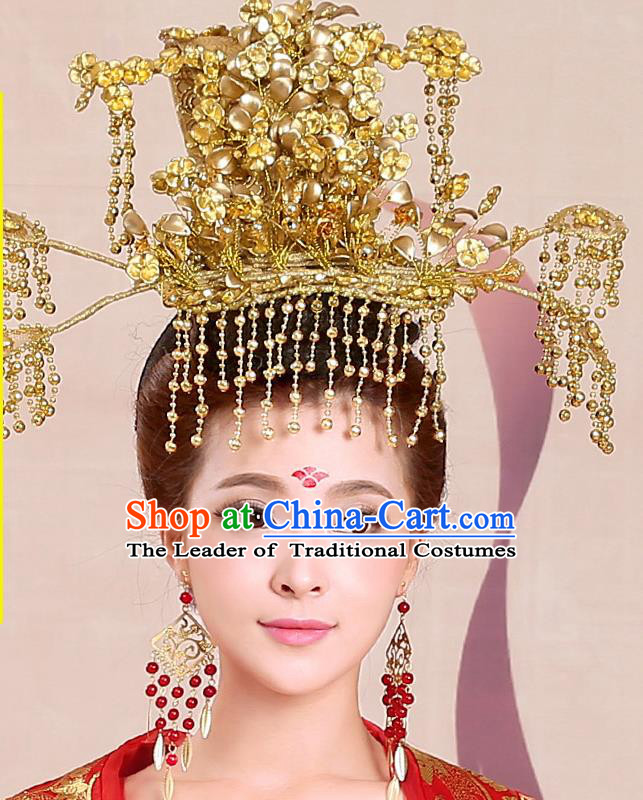 Chinese Ancient Style Hair Jewelry Accessories, Tang Dynasty Princess Hairpins, Hanfu Xiuhe Suits Wedding Bride Headwear, Headdress, Imperial Empress Handmade Hair Fascinators for Women
