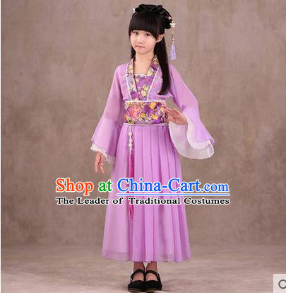 Ancient Chinese Palace Costumes Complete Set, Traditional Han Dynasty Ancient Palace Children Clothing, Cosplay Hanfu Fairy Princess Dress Suits for Kids