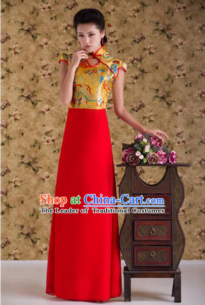 Ancient Chinese Costumes, Manchu Clothing, Hotel Etiquette Improved Dragon Cheongsam, Traditional Red Cheongsam Wedding Toast Dress for Bride