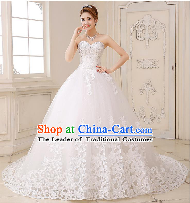 Traditional Chinese Bride Strapless Wedding Dress, Chapel Train Wedding Gown Wedding Dress for Women