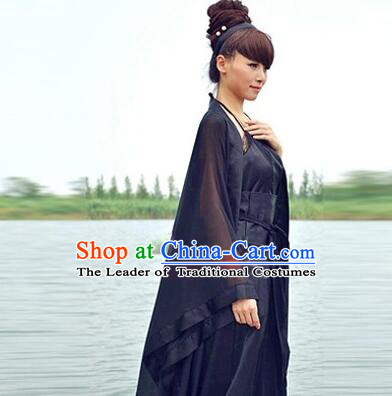 Chinese Classical Xiao Long Nv Costumes Complete The Return of the Condor Heroes Set Han Fu Stage Show Chiffon Dress Blue