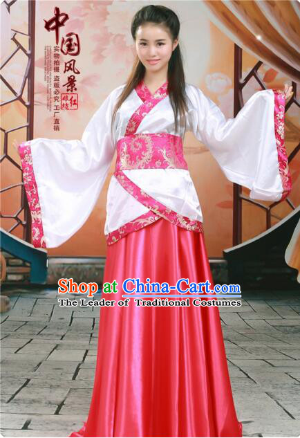 Tang Suit Women Han Fu Set curving-front Chinese Ancient Costume Stage Ceremonial Clothes Red