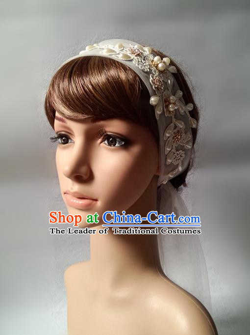 Chinese Wedding Jewelry Accessories, Traditional Bride Headwear, Wedding Tiaras, bridal Wedding Lace Veil