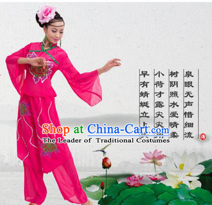 Traditional Chinese Yangge Fan Dancing Costume, Folk Dance Yangko Costume for Women