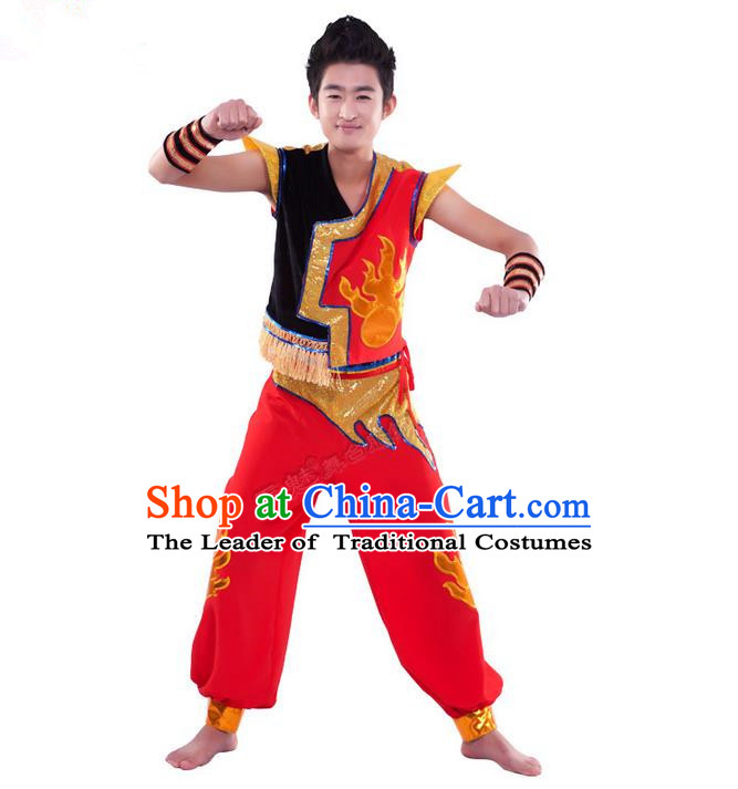 Traditional Chinese Yangge Fan Dancing Costume, Dragon Dancing Clothes, Folk Dance Yangko Costume for Men