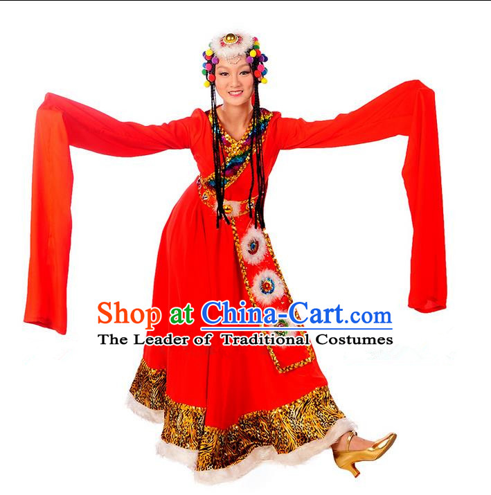 Traditional Chinese Zang Nationality Dancing Costume, Folk Dance Ethnic Water Sleeves Costume, Chinese Minority Nationality Tibetan Dance Costume for Women