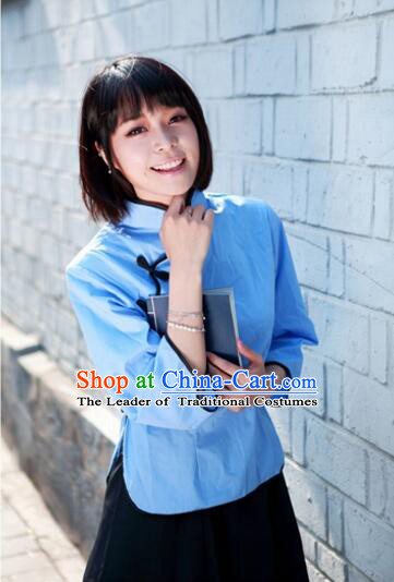 Min Guo Female Student Clothes Asian Student Wu Si Five Four Movement Costume for Girls Blue