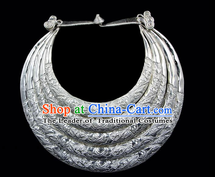Traditional Chinese Miao Ethnic Minority Necklace Miao Ethnic Silver Jewelry Accessories