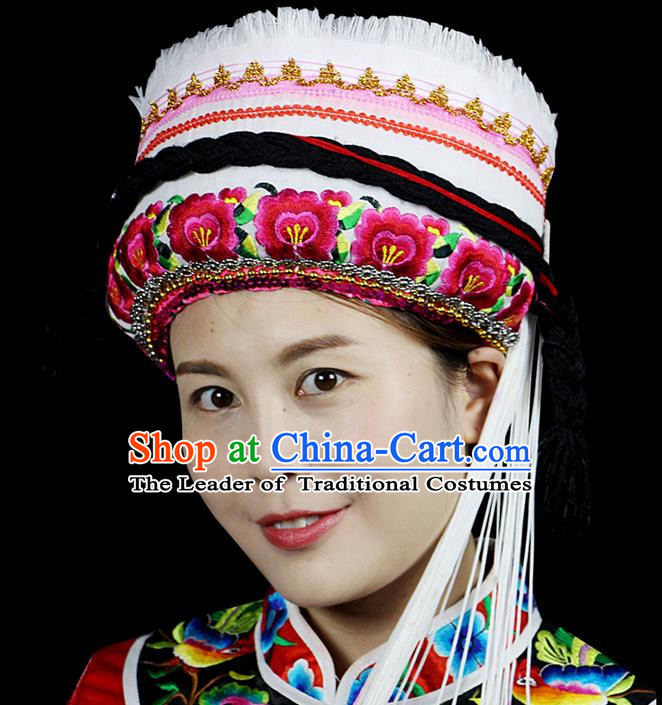 Chinese Traditional Bai Minority Hmong Folk Ethnic Hat, Bai Ethnic Embroidery Hat for Women
