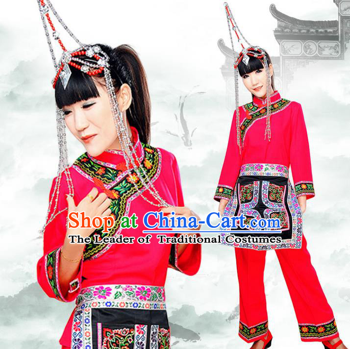 Traditional Chinese She Nationality Dancing Costume, Shezu Female Folk Dance Ethnic Dress, Chinese She Minority Nationality Embroidery Costume for Women