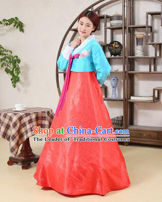 Korean Traditional Dress Korean Style Women Girl costume Dancing Show Full Attire Formal Clothes Red