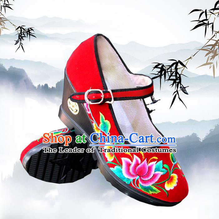 Traditional Chinese Folk Dance Shoes, Female Embroidered Shoes, Chinese Embroidery Fabric Shoes for Women
