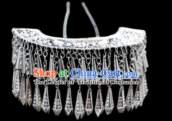 Traditional Chinese Miao Nationality Phoenix Silver Headwear, Hmong Female Folk Wedding Ethnic Accessories Crown, Chinese Minority Nationality Jewelry Accessories Hairpins for Women