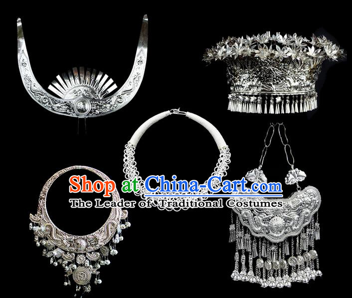 Traditional Chinese Miao Nationality Necklace, Hmong Folk Wedding Phoenix Silver Headwear, Chinese Minority Nationality Crown, Longevity Lock Jewelry Accessories Set for Women