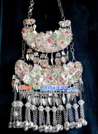 Traditional Chinese Miao Nationality Necklace, Longevity Lock, Hmong Folk Wedding Phoenix Silver Collar for Women