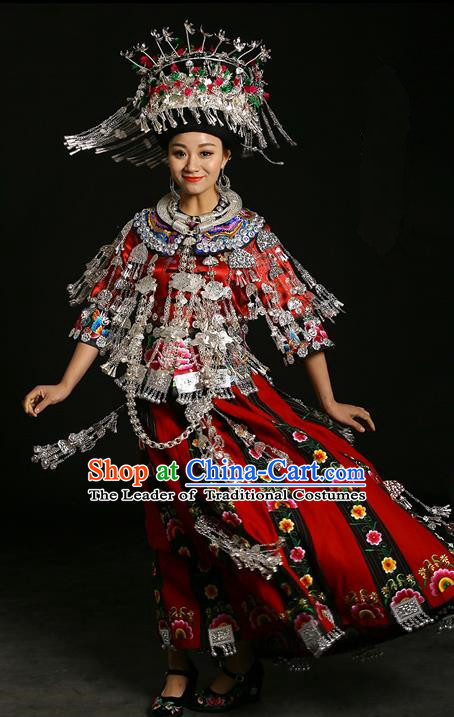 Traditional Chinese Miao Nationality Wedding Costume Accessories Crown, Necklace, Hmong Female Wedding Ethnic Dress and Phoenix Silver Headwear, Chinese Minority Nationality Embroidery Costume and Hat for Women
